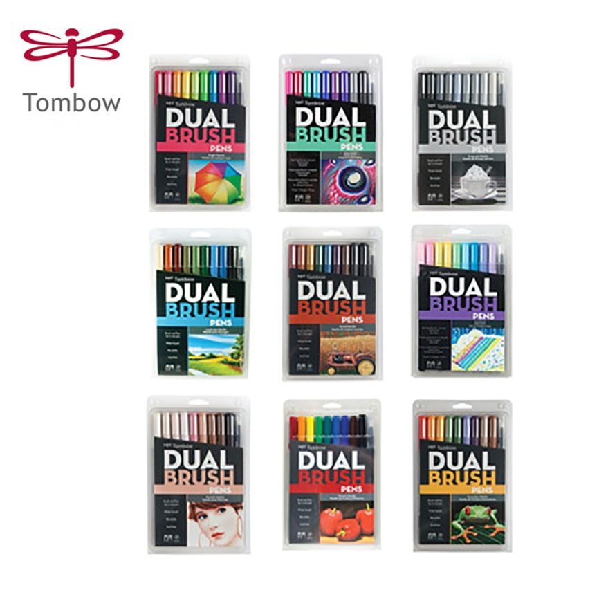 10pcs/set TOMBOW AB-T Calligraphy pen set double head markers color pen soft brush pen drawing nomination art supplies