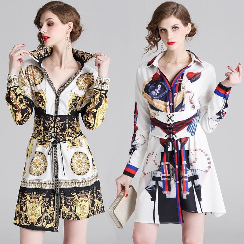 Brand New Print Pattern Chiffon Long Sleeve Above Knee Dress With Belt,Ball Gowns Birthday Party Pageant Dresses Irregular Hem