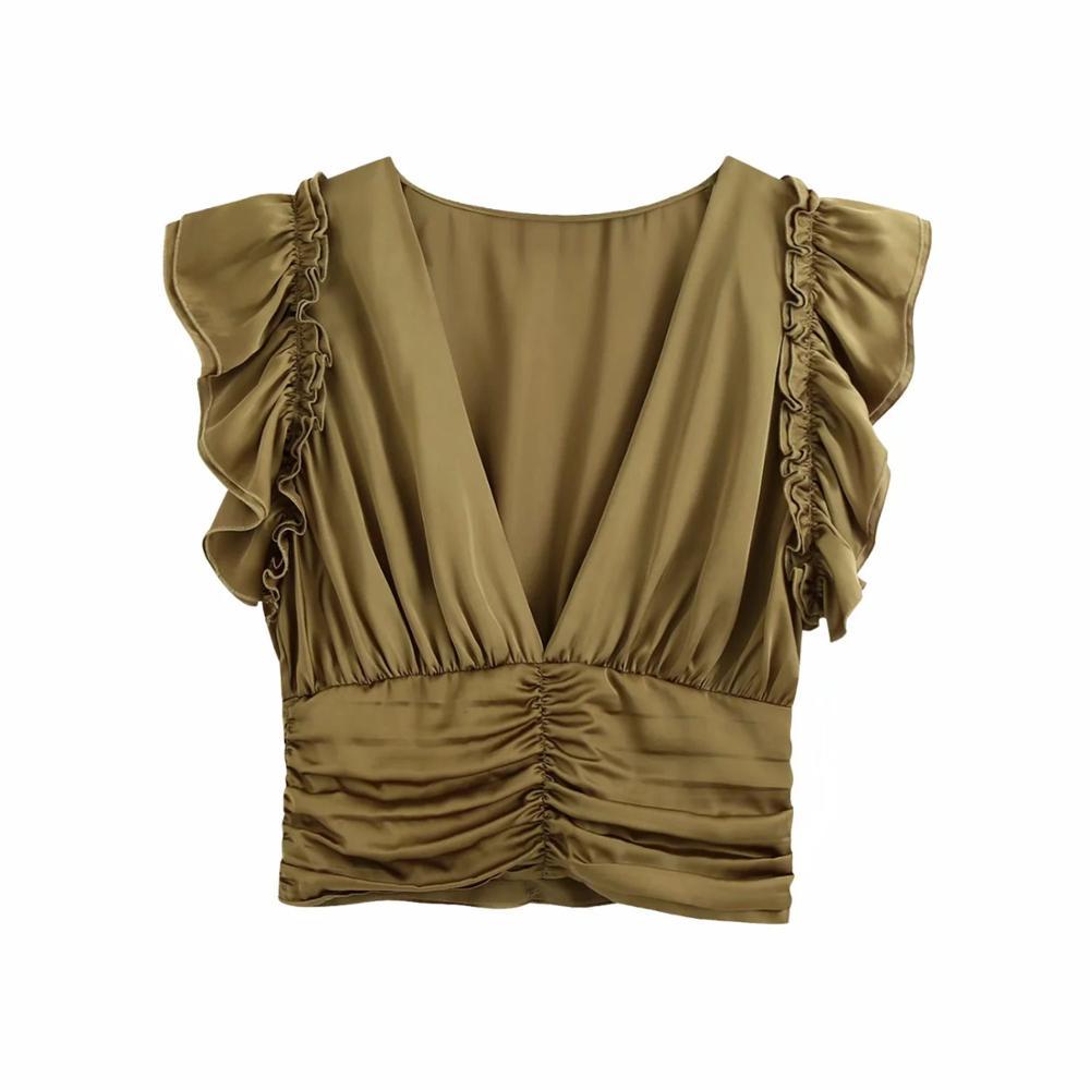 2020 neue Frauen Crop Tops Mit Rüschen Sleeveless V-ausschnitt Kräuselte Versammelt T-hemd casual mode ropa mujer femme t-shirts