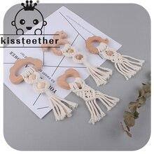 Kissteether 1Pcs Handmade Tassel Cotton Rope Beech Teether Chewable Baby Molars Wooden Teether Teeth