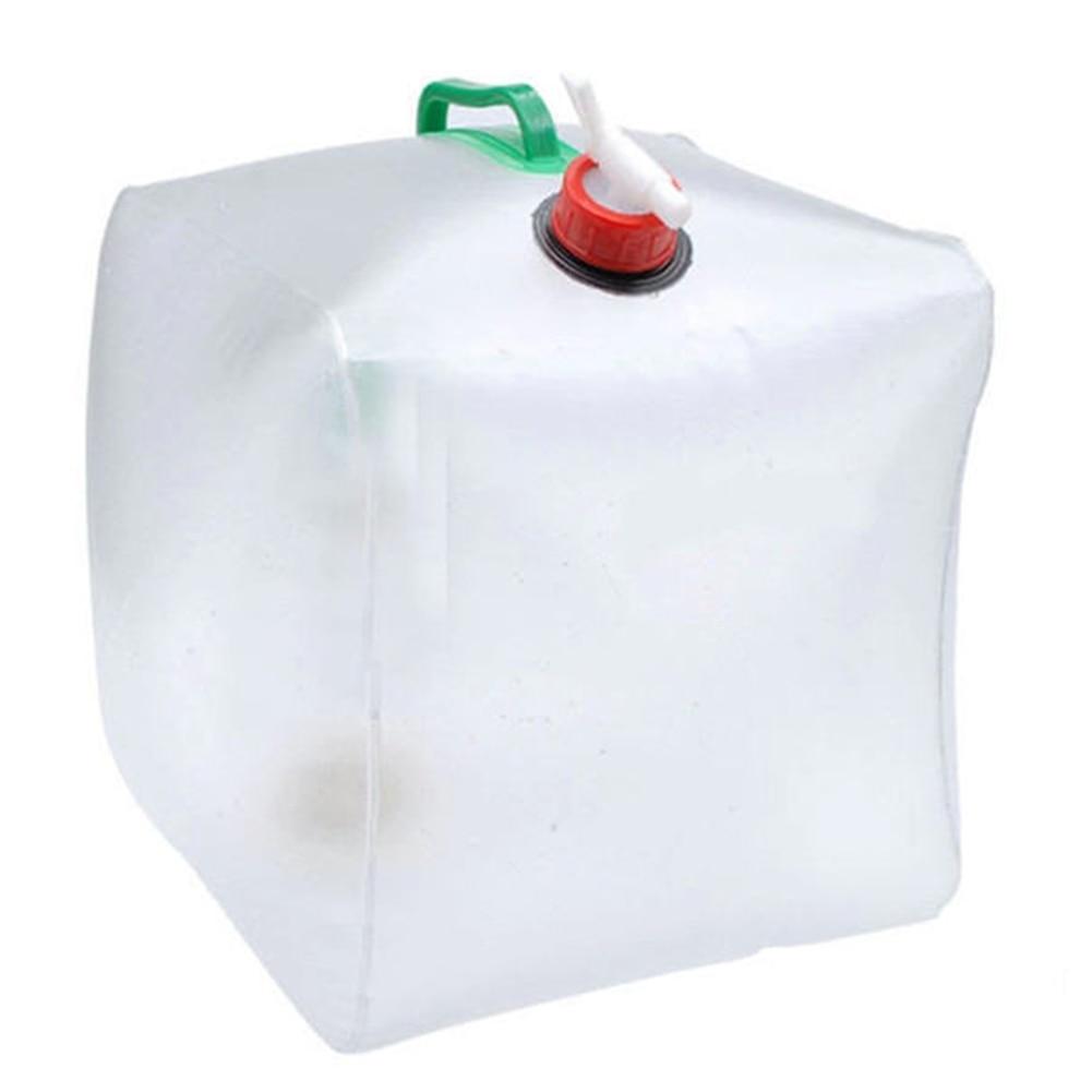 20L PVC plegable al aire libre plegable bolsa de agua potable transparente contenedor de transporte de agua para coche
