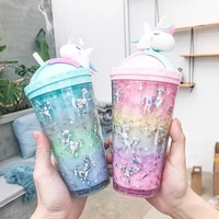 creative unicorn push cover ice cream cup water cup water bottle for children cute art fresh cartoon double straw students cup
