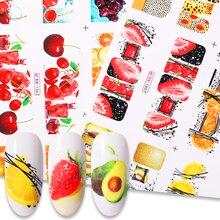 12 pièces été fruits eau décalcomanies citron fraise dessins ongles autocollants enveloppes curseur décoration