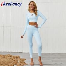 Acefancy Nahtlose Yoga Set Frauen Sexy Dame Sportwear Hohe Taille Lange Hülse Gym Kleidung Frau ZC2365 Yoga Fitness Legging Anzug