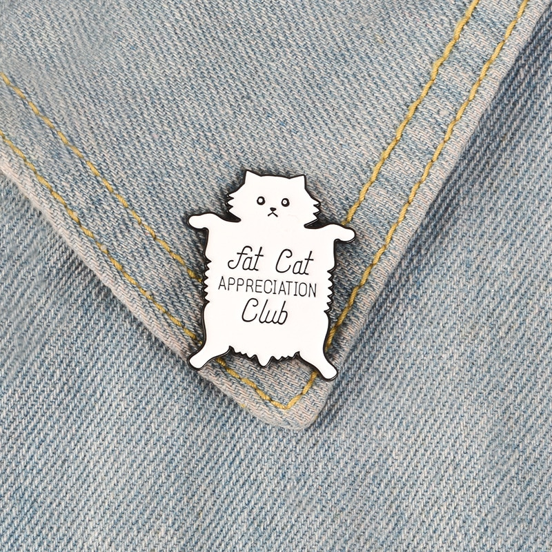 XEDZ white cat enamel pin fat cat Kitty cute animal badge cat club team icon popular punk lapel brooch jewelry for children  - buy with discount