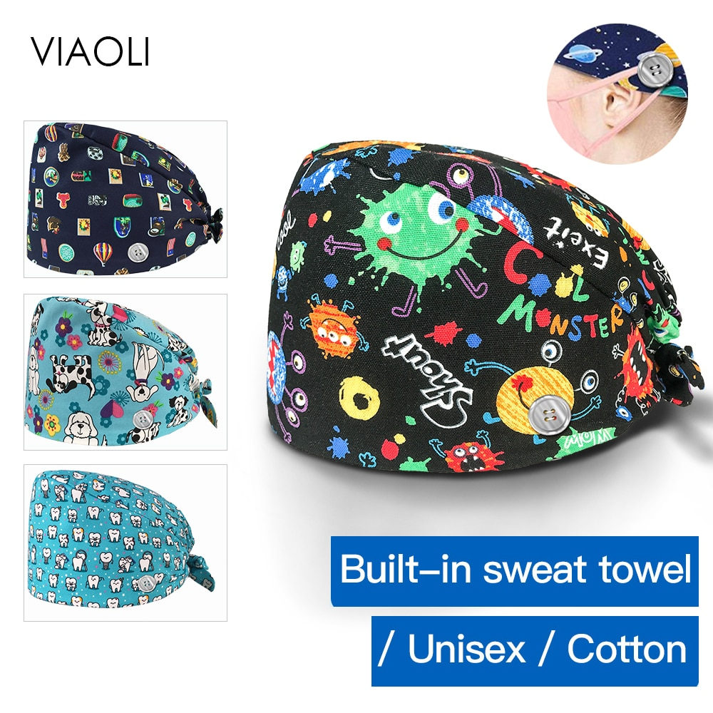 Alta qualidade botões ajustáveis bandagem esfrega chapéus salão de beleza bonito floral impressão chapéus masculino e feminino spa moda esfrega boné