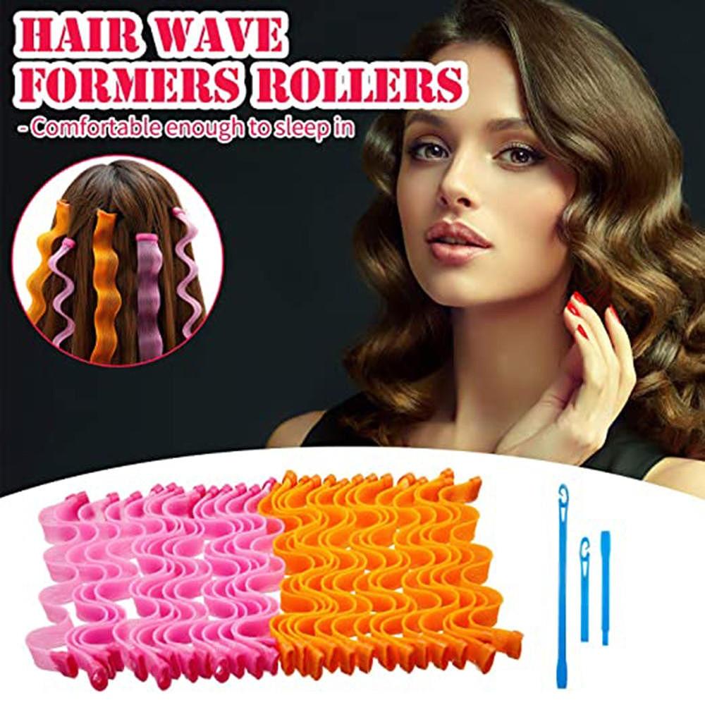 12pcs/Set 30cm Hair Curlers Spiral Curls No Heat Wave Hair Curlers Styling Kit Spiral Hair Curlers W