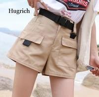 plus size women summer shorts with belt 2020 fashion casual streetwear cargo shorts feminino bf style army green short femme