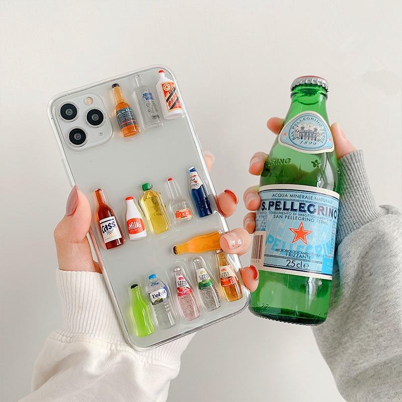 Carcasa de teléfono con dibujo 3D de botella de cerveza y leche para 11Pro X XR, para iphone 7, 8plus, XS, max Clear, carcasa protectora suave, funda trasera