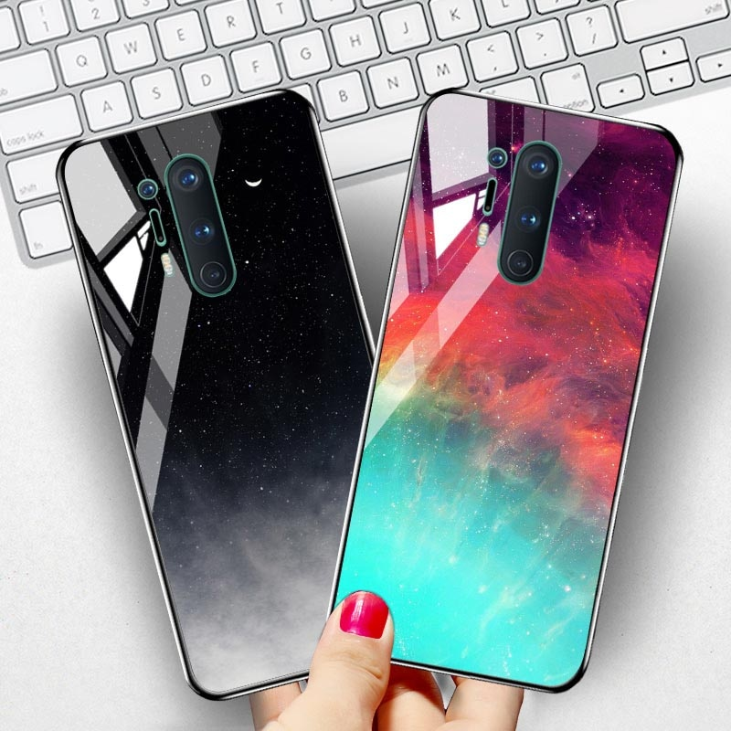 Tempered Glass Case For Oneplus 8 Pro 7T 7 Pro 6T Cases Luxury Star Space Bumper For Oneplus Nord 8T