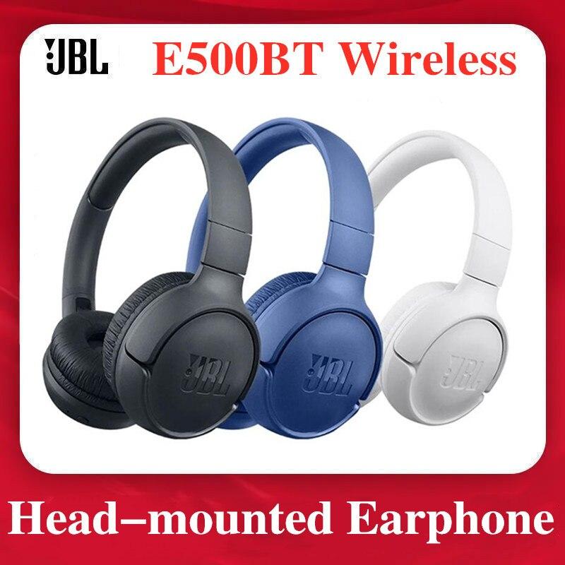 JBL E500BT سماعة عميق باس الصوت الرياضة لعبة بلوتوث متوافق سماعة رأس مزودة بميكروفون إلغاء الضوضاء سماعات قابلة للطي