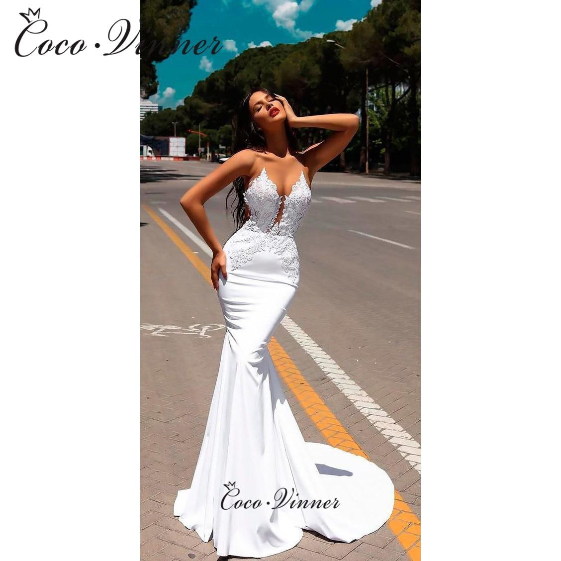 Satén suave con cuello en V Sexy bordado traje De novia De sirena De correas espaguetis América del Sur elegante Vestidos De Novias Economico W0590