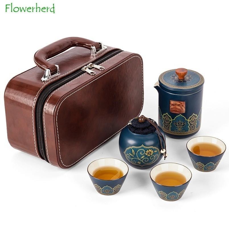 طقم شاي الكونغ فو من الخزف الخزفي ، طقم شاي ، فنجان ، علبة شاي ، طقم شاي محمول ، وعاء واحد ، ثلاثة أكواب ، إبريق شاي