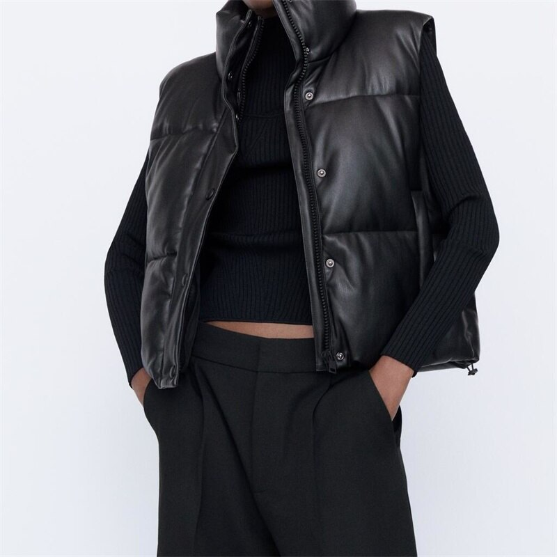 TRAF Women 2021 Fashion Leather Cotton Cropped Padded Waistcoat Vintage Sleeveless Female Outerwear