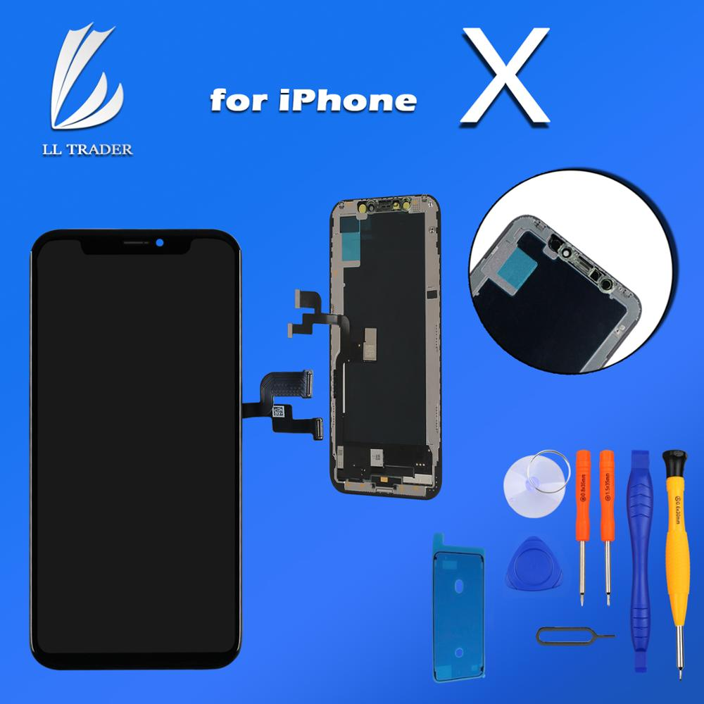 for iPhone X Display Screen Replacement OLED Touch Screen Digitizer Replacement 3D Touch Black + Free Tools Waterproof Adhesive
