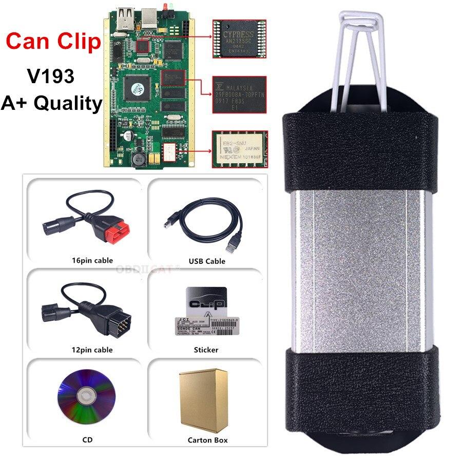 ¡Russion Stock! Mejor oro lado PCB tablero puede Clip V190 V193 con ciprés AN2135SC/2136SC Chip A + OBD2 herramienta de escáner de diagnóstico