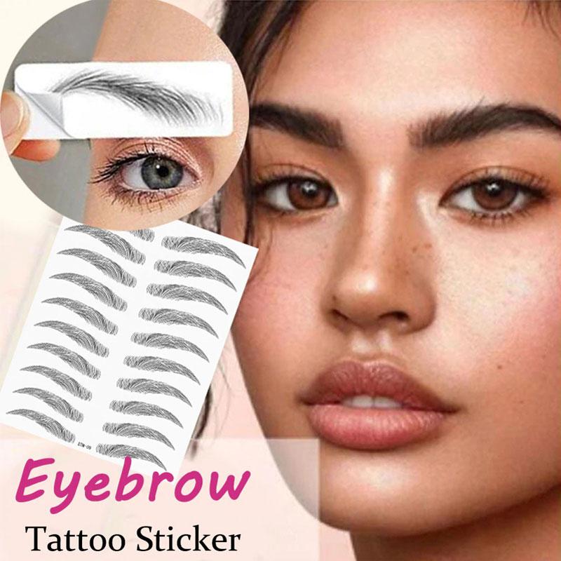 Pegatinas de tatuaje de cejas tipo cabello 6D, pegatina de cejas con transferencia de agua, maquillaje duradero resistente al agua, Cosméticos para cejas a base de agua
