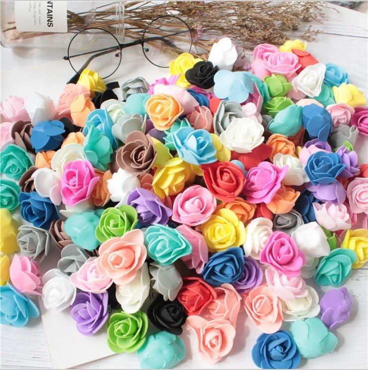 100PCS PE Foam Rose Flower Head Artificial Flowers Handmade DIY Wedding Home Decoration Festive & Party Supplies 1 pack