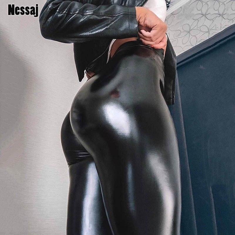Nessaj Black Summer PU Leather Pants Women High Waist Skinny Push Up Leggings Elastic Trousers Plus Size Spandex 10% Jeggings