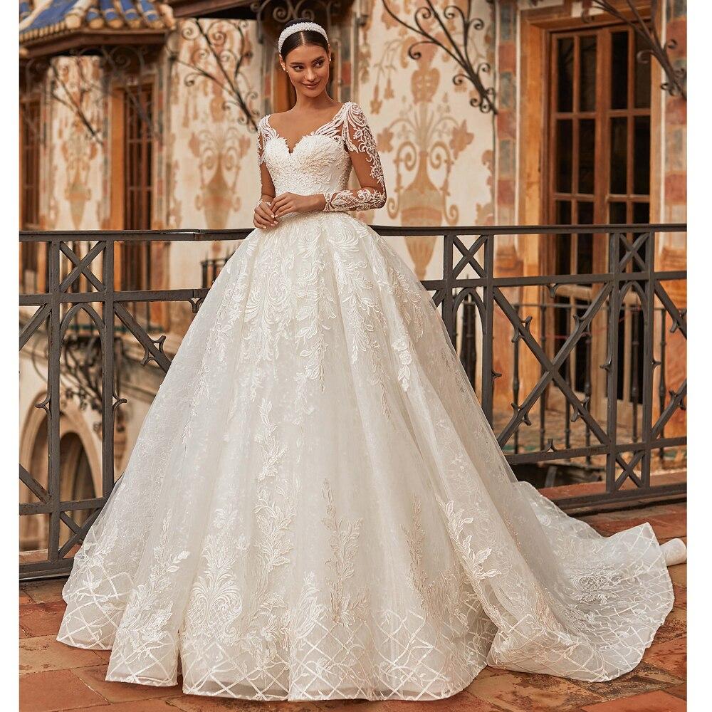 فستان زفاف إسلامي رومانسي ، ياقة على شكل V ، دانتيل ، أكمام طويلة ، خرز ، زينة ، زفاف ، 2021