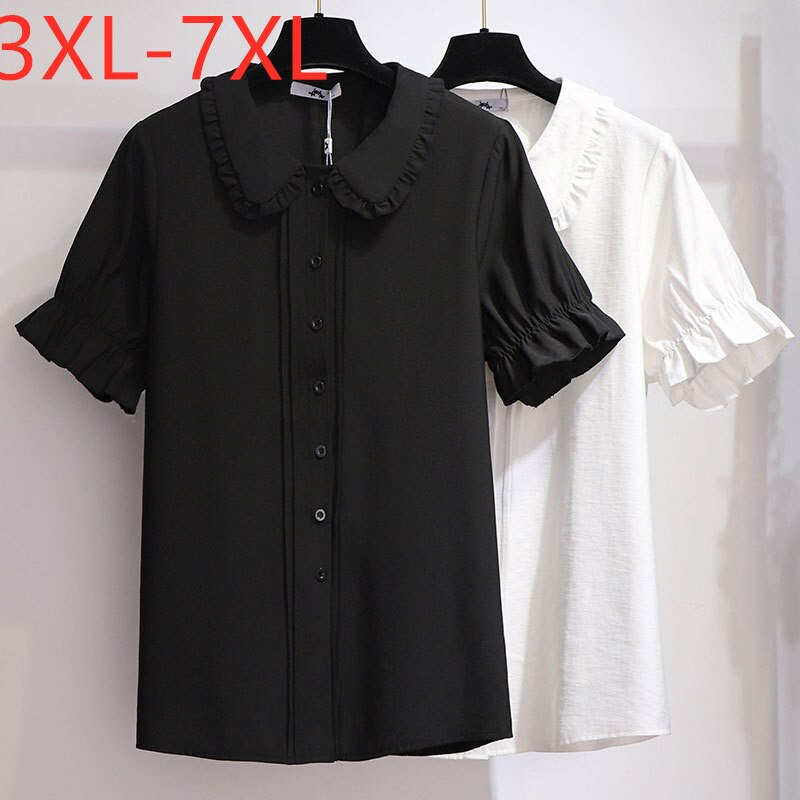 New 2020 summer plus size tops for women large blouse loose casual short sleeve chiffon shirt black white 3XL 4XL 5XL 6XL 7XL