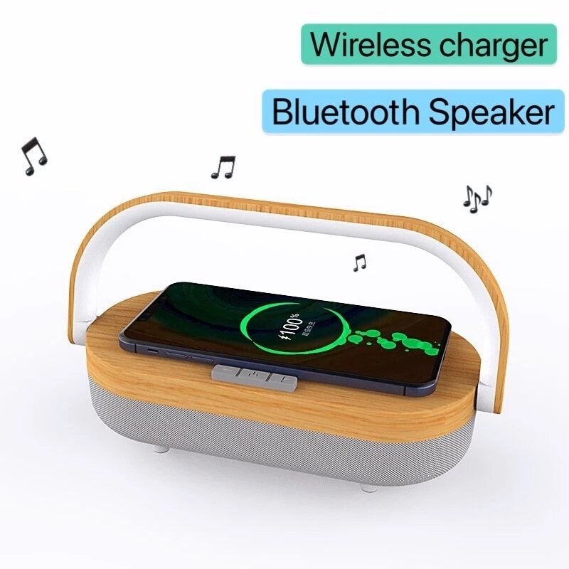 Portable wireless charger Bluetooth 5.0 speaker player, suitable for iPhone X wooden wireless charger TWS subwoofer fast chargin