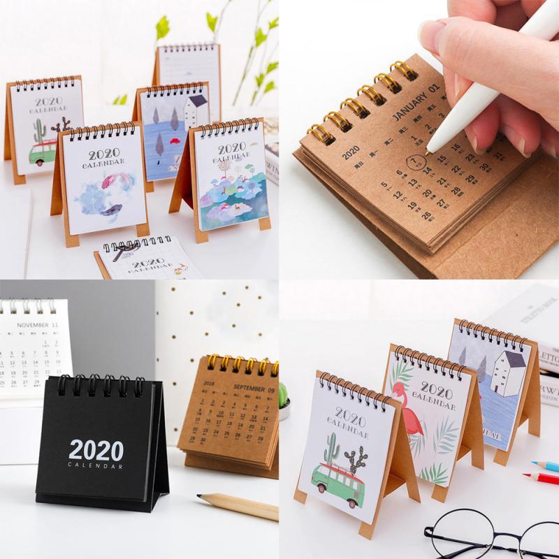2020 новый год простой мультяшный мини-календарь креативный стол Вертикальная бумага многофункциональное расписание план ноутбук ежедневное расписание