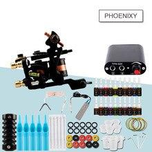 Kit complet de tatouage 1 ensemble de Machine à tatouer noir alimentation ensemble de tatouage poignées aiguilles conseils fournitures ensemble outils de maquillage Permanent