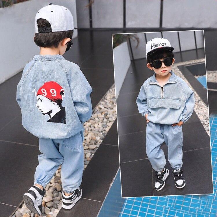 2-8 anos crianças conjunto conjuntos de roupas casual impressão manga longa denim casaco + jeans 2 pçs outono menina bebê esporte terno meninos treino