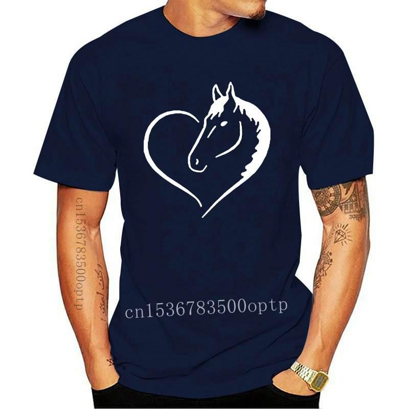 New Love Heart Horse Print Summer T-shirt Women O-neck Cotton Short Sleeve Funny T Shirt Women Top Loose T-shirt Femme Black Whi