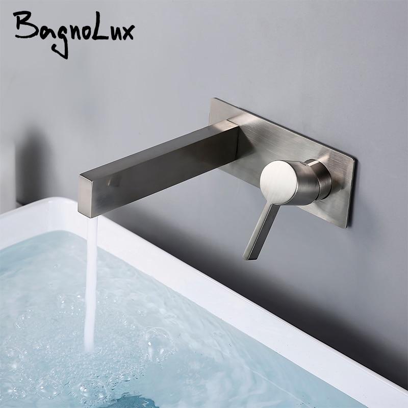 الحمام حوض حمام خلاط صنبور المطبخ الحنفية جدار جبل المقاوم للصدأ الأسود الكروم النحاس الماء الساخن والبارد وحيد مقبض اثنين حفرة