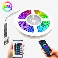 Светодиодные ленсветильник RGB 5050 с USB-кабелем, 5 в постоянного тока, инфракрасная лампа с пультом дистанционного управления для украшения сп...