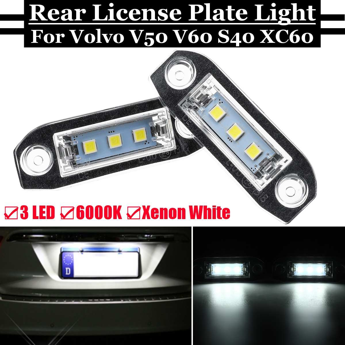 Nuevo coche 2 uds LED de luz de matrícula trasera brillante blanco Número de lámpara para Volvo S40 S60 S80 V50 V60 V70 Xc60 Xc70 Xc90 2004-2015