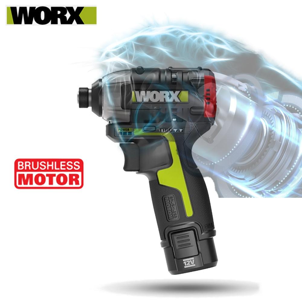 مفك براغي بدون فرشاة من Worx WU132 مفكات بتأثير لاسلكي 12 فولت بحد أقصى 200 واط 140 نانومتر 3300 دورة في الدقيقة مخرج 1/4 بوصة بطارية ليثيوم بتشوك سداسي