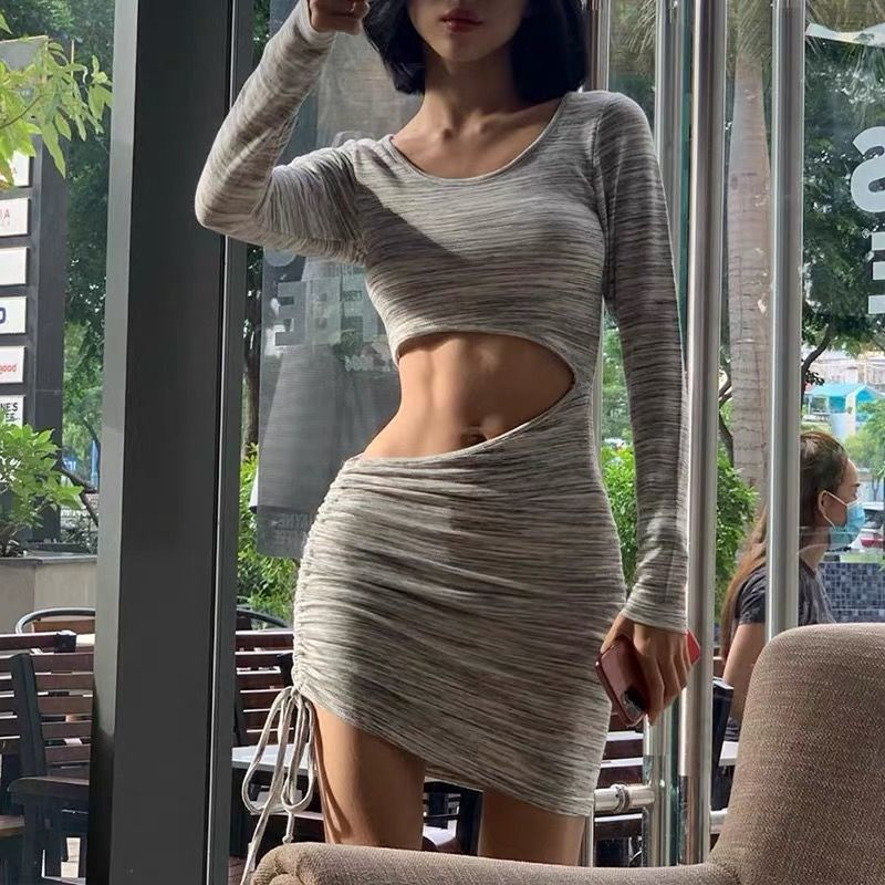 QWEEK Cut Out Mini Dress Bodycon Drawstring Sexy Long Sleeve Hollow Out Short Dresses for Women 2021 O-neck Sheath Outfits Woman