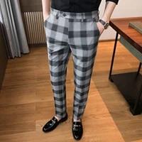 2021 mens fashion business suit trousersmale slim fit plaid leisure suit pantsman brand clothing ankle length pantalon 28 36