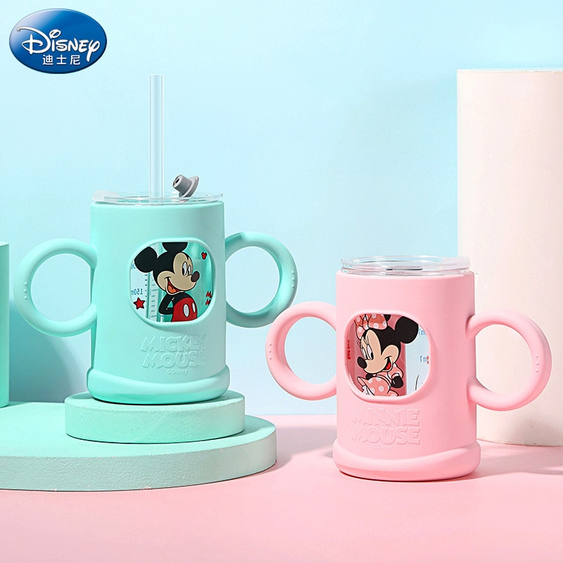 Disney water cup children's glass milk cup silicone sleeve resistant to fall with graduation straw baby milk powder water cup