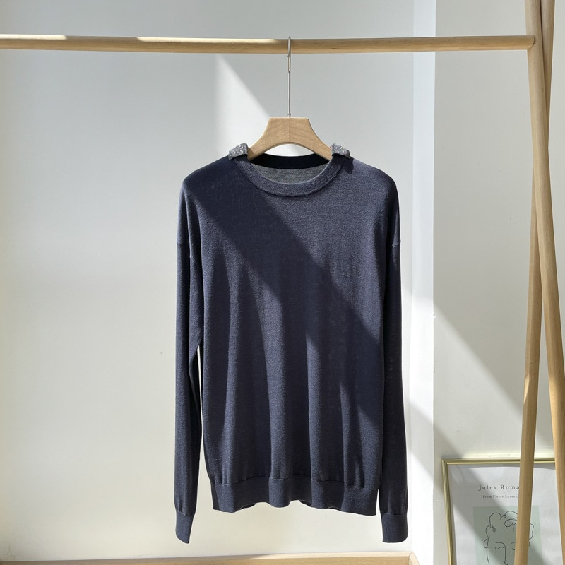 SHUCHAN NEW 2021 Thin Sweaters for Women 15% Cashmere 85% Silk Office Lady  Solid  Spring/Autumn  Regular Yarn Pullovers enlarge