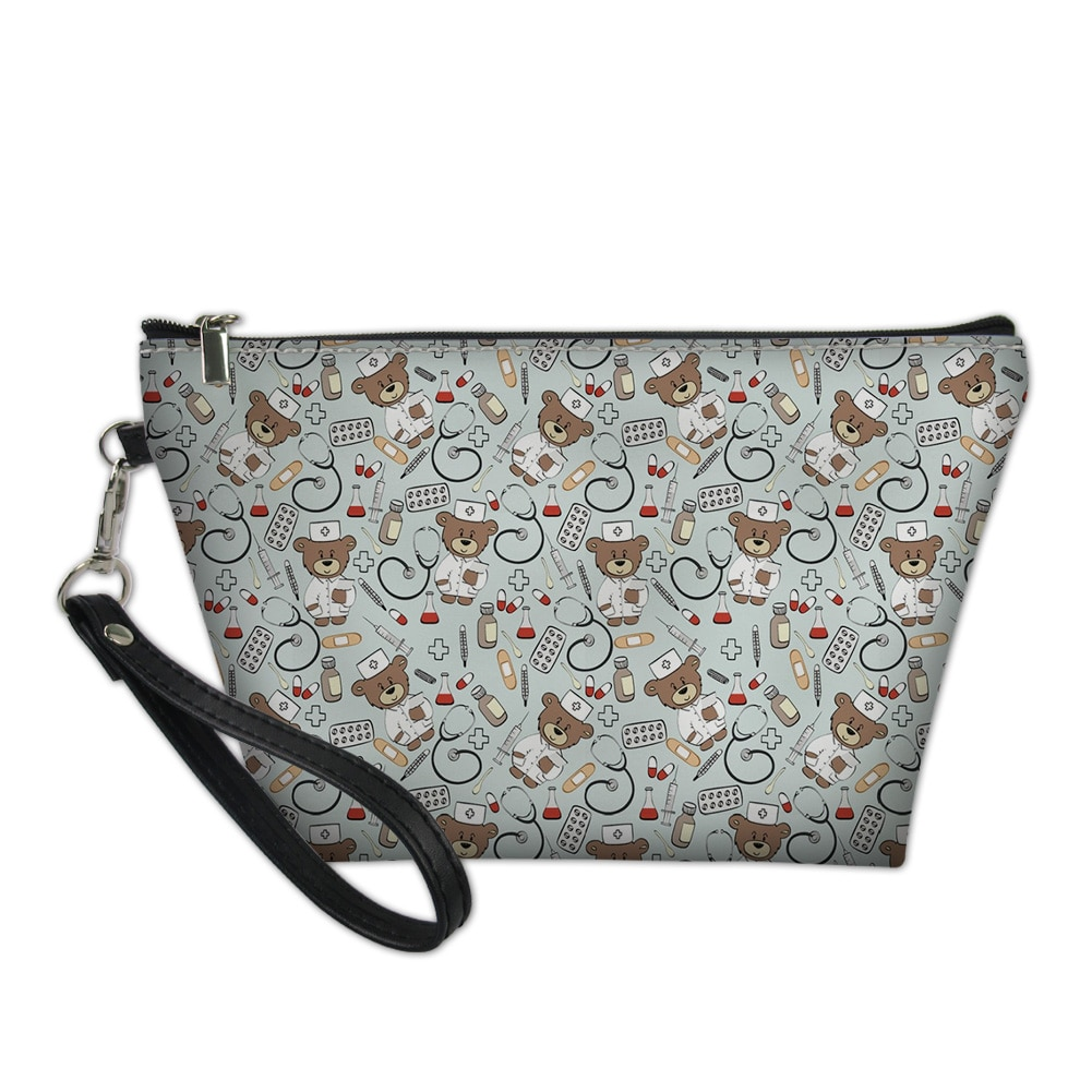HaoYun Fashion Cosmetic Bag Functional Cartoon Animal Prints Pattern Women Travel Leather Make Up Necessaries Pouch Toiletry Kit