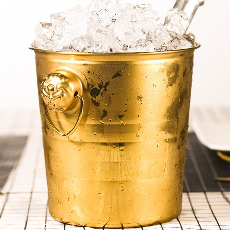 دلو ثلج أسود وذهبي من الفولاذ المقاوم للصدأ سعة 3 لتر مع شريط مرشح ، دلو ثلج للشمبانيا