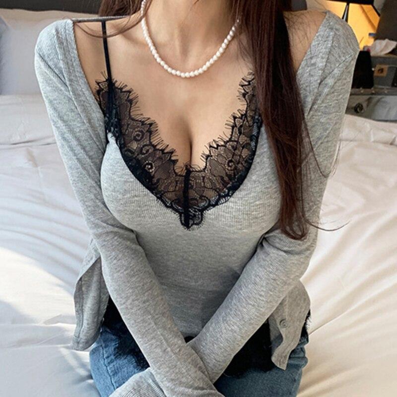 Las mujeres del estilo coreano recortan la parte superior del remiendo del cordón de las pestañas del remiendo profundo del cuello pico Sexy Blusa de manga larga delgado del Rebeca del verano del conjunto