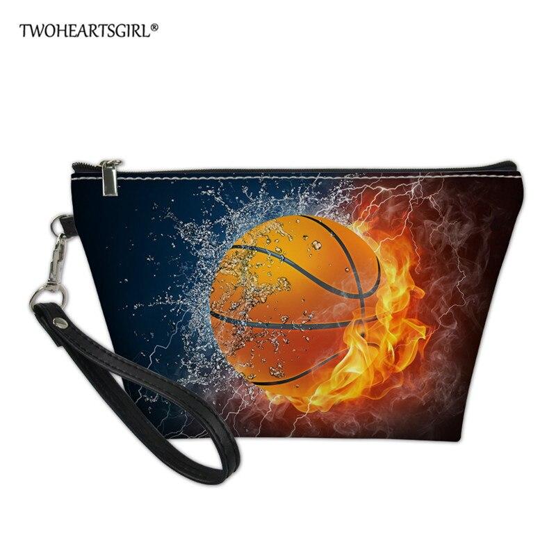 Twoheartsgirl баскетбольная женская сумка для макияжа, портативная кожаная косметичка из искусственной кожи, клатч, сумка для хранения монет для ...