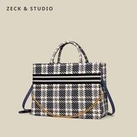 luxury plaid designer high capacity tote handbag for women 2021 trends brand designer shopper canvas shoulder bags shopping bag