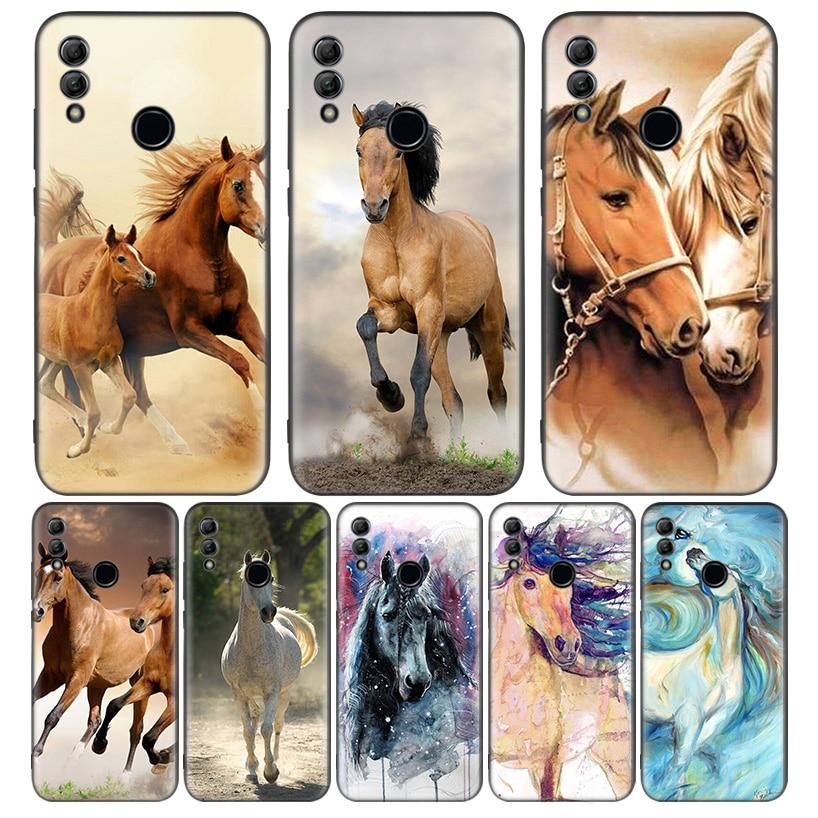 Aquarela Cavalo Cavalos Running Preto Tampa Do Caso Do Telefone para Huawei Y9 Y5 Y6 Y7 2019 Honra 10 9 Lite 9X 8X 8S 8A 7S 7A 10i 20i