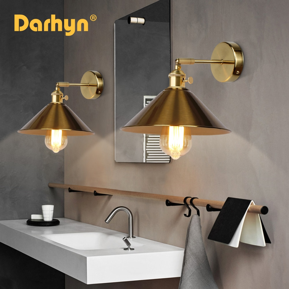 DARHYN Vintage Wall Lamp With Switch Copper Color Bedroom E27 sconce Gold Plug In For Living Room