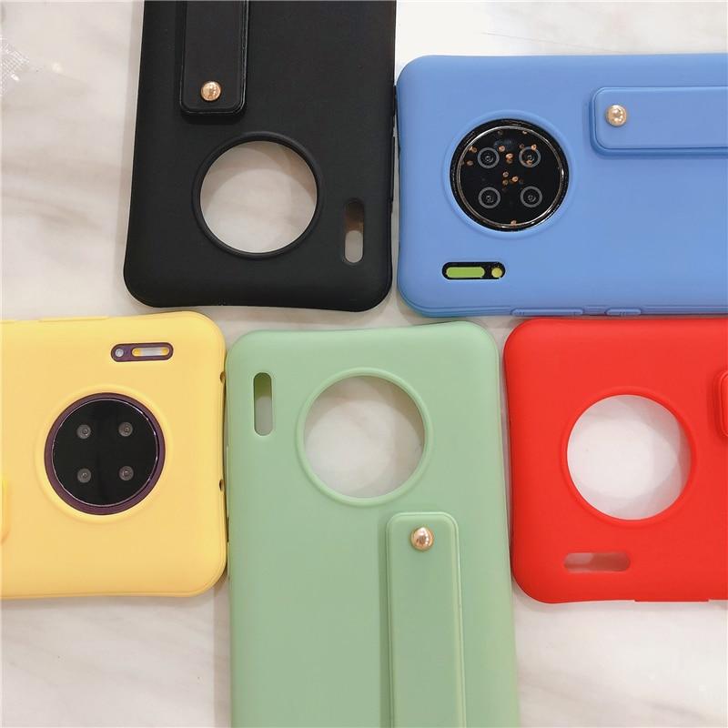 Correa para muñeca de Color caramelo para teléfono Huawei Mate 30 P40 P30 P20 Pro Lite Nova 7I 6 5 Pro Honor9X 8X, funda blanda de TPU a prueba de golpes
