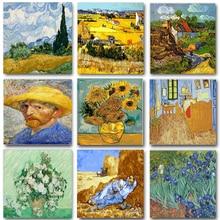 Cuadro al óleo sobre lienzo de Van Gogh, pintura acrílica, figura de paisaje, dibujo para colorear por número, decoración del hogar