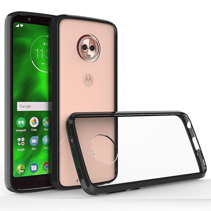Para Motorola Moto G6 G6 Plus G6 Play funda dura híbrida parachoques duro cubierta trasera acrílica para Moto G6 g6plus G6Play Coque Funda