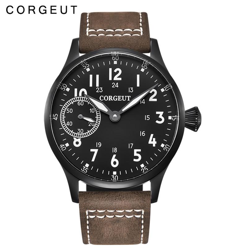 Fashion Leather Top Luminous Mechanical Hand Winding Men Watch 17 Jewels ST3600 Seagull 6497 Movement Sport Wristwatch