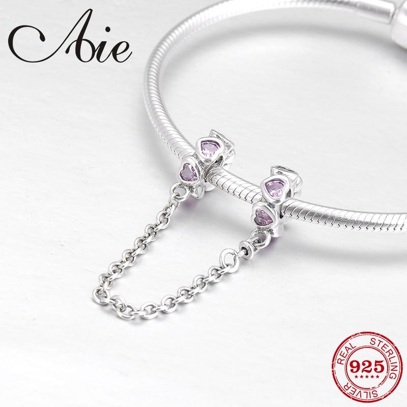 100% auténtica Plata de Ley 925 DIY para cuentas de cadena de seguridad de corazón Rosa CZ Ajuste Original Pandora encantos pulsera fabricación de joyería